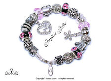Authentic Pandora Silver Charm Bracelet Euro Charms Pink Black Floral Love Mom