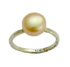 925 Sterling Silver Pearl Ring Solitaire Classy Hammered Handmade Elegant 10mm
