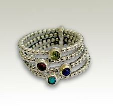 925 Sterling Silver Beaded 4 Stack Rings with Opal Garnet Lapis Peridot 13mm New