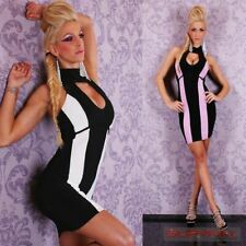 Womens Mini Halter Neck Striped Black Dress New Sexy Party Club Wear Size 6 8 10