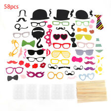 58PCS/Set Colorful Props On A Stick Mustache Photo Booth For Fun Wedding SU