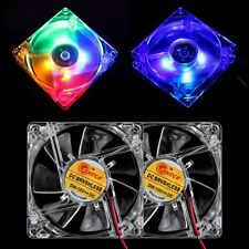 4 Blue Quad 4-LED Light Quite Clear 80mm PC Computer Case Cooling Fan Mod Cooler