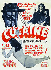 Cocaine Vintage 1930s Classic Adult Movie METAL TIN SIGN POSTER PLAQUE