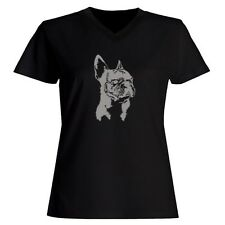 French Bulldog FACE SPECIAL GRAPHIC Women V-Neck T-Shirt