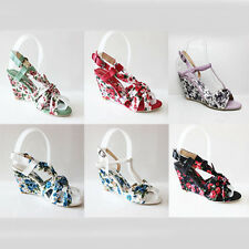 WOMEN'S LADIES STRAPPY FLORAL MID HIGH HEEL WEDGE SHOES SANDALS SIZE 3-8