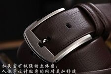 New Mens Genuine Leather Business Waistband Smooth Buckle Belt Waist Strap Belts