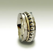 925 Sterling Silver Gold Spinner Ring Beaded Band Hammered Handmade Unisex 9mm