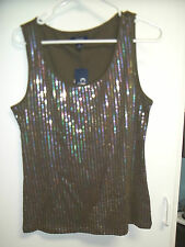 NWT Misses  Size Large Tank Top by CHAPS, Olive Green with Sequins