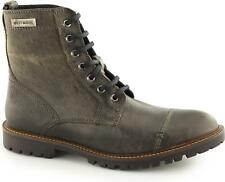 Harley Davidson ALDRICH Mens Leather Lace Up Casual Ankle Biker Derby Boots Grey