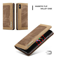 For Samsung Galaxy S7  S8 Plus Leather Magnetic Wallet Flip Case Cover Canvas