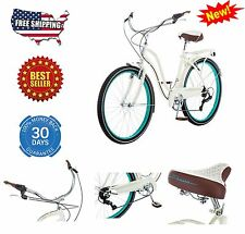 Womens Cruiser Bike Comfort Hybrid Road Comfort Bicycle 7 Speed Shimano cream 26