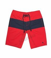 New Mens Abercrombie & Fitch Swim Shorts Board Shorts Red Blue Size XL