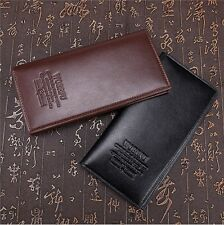 Long Leather Wallet Bifold Purse Cente Card Clutch Pockets Coffee Casual Black Y