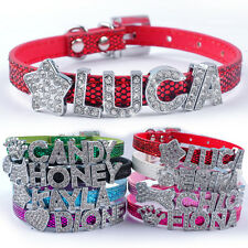 Bling PU Leather Cat Dog Collars Personalized Free Rhinestone Dog Name Collar