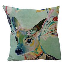 18 inch Colorful Deer Throw Pillow Cushion Cover Home Sofa Car Decor Nifty