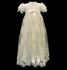 Actual Photo Ivory Lace Baby Girls Boys Christening Dress Baptism Gown with Belt