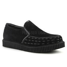 Demonia V-Creeper-607 Black Vegan Suede Slide-On Creepers - Gothic,Goth,Punk,Bla