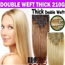 New Clip in Hair Extensions 7/8 Pieces Full Head Long As Human Double Weft Hair