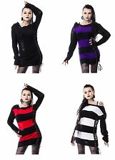 Heartless Dropout Top Ladies Black White Red Purple Striped New Goth Punk Emo