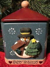 "Snowman Cookie Jar~ BICO Ceramic Snack Jar Treat Canister ""Happy Holidays"""