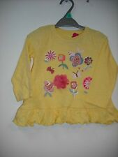 BNWT Nutmeg Girls Pretty Flower L/S Top. (Yellow)  Age 12 Months to 6 Years