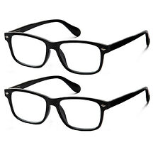2 Pair Lot Spring Hinge Black Reading Glasses Clear Lens Strength Men Women Pack