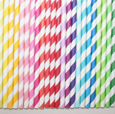 25/50/100Pcs Biodegradable Paper Drinking Straws Striped Birthday Wedding Party