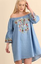 Umgee Blue Embroidered Peasant Gypsy BOHO Chambray Tunic Top Plus