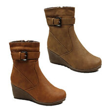WOMENS LADIES WINTER FUR LINED WEDGE HEEL ANKLE BOOTS SHOES SIZE 3-8