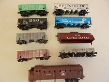 HO lot of 9 Coal Hoppers Dump Cars and one Snow Blower