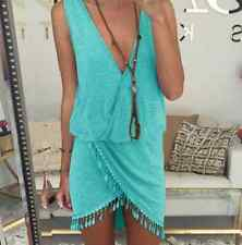 Sexy Women V-Neck Bodycon dress Boho Maxi High Slit Fringe Tassel Party Dress