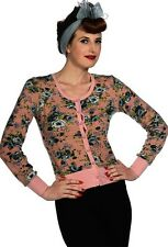 Banned Apparel Floral Cardigan Pink Retro Vintage Rockabilly PinUp 1950s