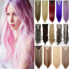 100% Natural Hairpiece 8Pcs Full Head Clip In on Hair Extensions as human fake