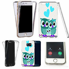 360° Silicone gel full body Case Cover for many mobiles - love owls blue.