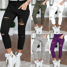 Women Stretchy Ripped Slim Fit Skinny Leggings Trousers Casual Pencil Pants 4-12