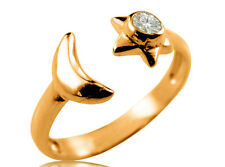 9K Solid Yellow GOLD Moon Star CZ 9ct Toe Ring