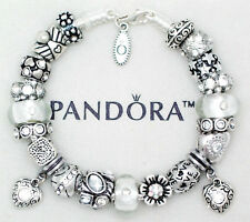 Pandora Charm Bracelet Silver with Heart Love European Beads Charms Authentic