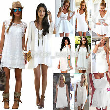 Women Holiday Mini Playsuit Ladies Sundress Jumpsuit Summer Beach Dress WHITE