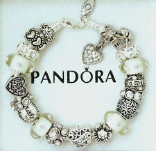 Pandora Charm Bracelet Mom Mother Family Thanks White European Charms and Beads