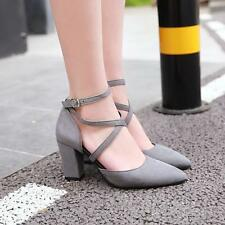 Block Heel Pointy Cross Strappy Chic Show Trendy Womens Party Shoes Plus Size
