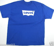 Levi's T Shirt Levis Strauss & Co Batwing Levis Blue & White 100% Cotton Levis