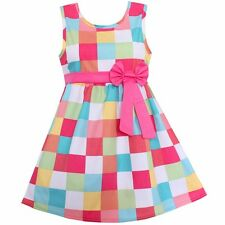 Girls Dress Colorful Plaid Cotton Dresses Party Pageant Casual Kids Clothing