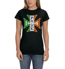 Irish Pride Ireland Flag Iron Cross Motorcycle Biker Womens T-Shirt Tee