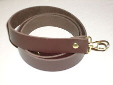 """1"""" DARK BROWN LEATHER SHOULDER BAG REPLACEMENT STRAP GOLD FITTINGS"""