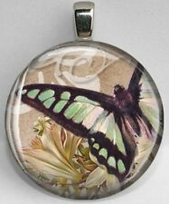 Handmade Interchangeable Magnetic Vintage Motif #33 Butterfly Pendant Necklace
