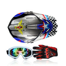 Fantastic Motorcycle Racing Full Face Helmet+Goggles+Gloves Protector FS945 S-XL