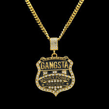 Bling Gangster Badge Shield Rhinestone Alloy Hip Hop Pendant Chain Necklace