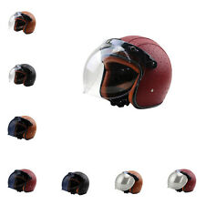 DOT Motorcycle Harley Retro PU Leather Half Helmets +Bubble Visor Fantastic
