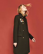 Zara Wool Badge Embroidered Military Style Long Coat Gold Buttons Khaki XS M L