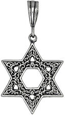 Sterling Silver Jewish Charm Star of David Pendant Necklace Oxidized with Chain